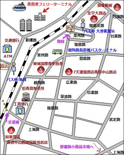【地図】青島港フェリーターミナルの周辺地図