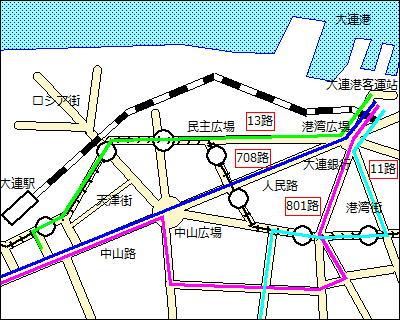 【地図】大連港にアクセスする公共バスの路線図