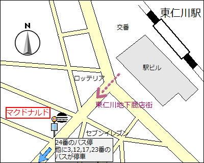 【地図】東仁川駅の24番バス停。駅から南へ約100mのマクドナルド前。