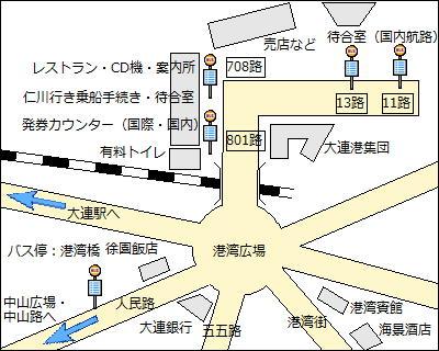 【地図】大連港旅客ターミナルのレイアウト