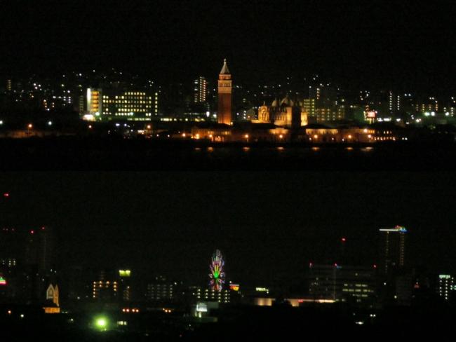 北九州市街の夜景コラージュ